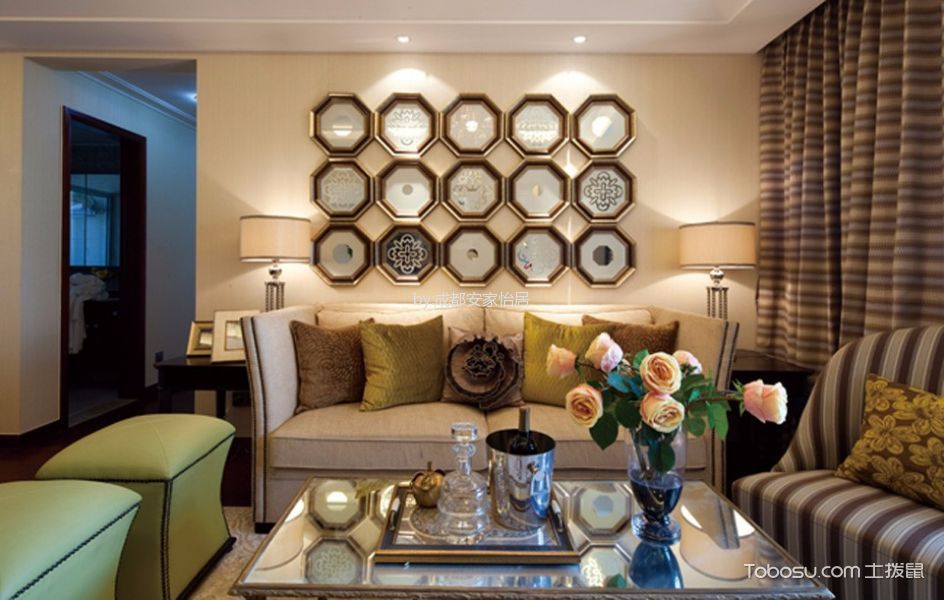 鹭岛国际社区欧式风格三居室装修实景图