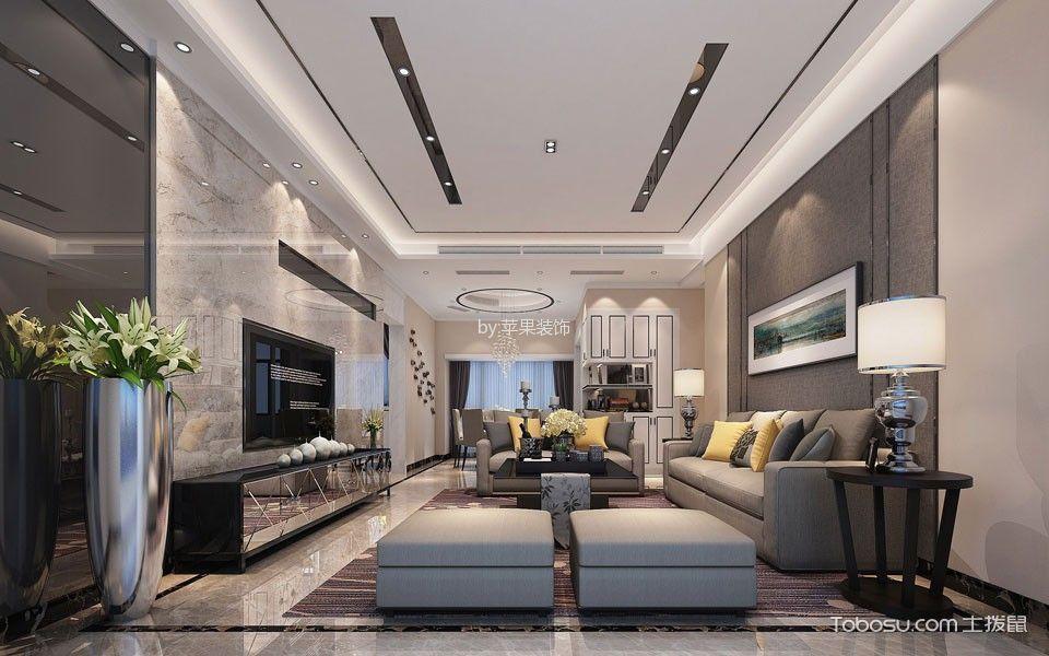 现代简约风格136平米三室两厅室内装修效果图