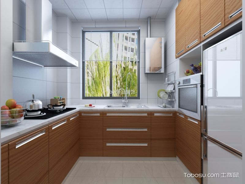 厨房白色背景墙北欧风格装饰设计图片