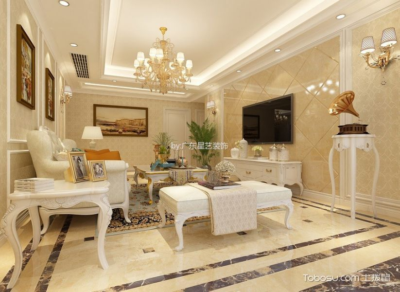 欧式风格180平米四室两厅室内装修效果图