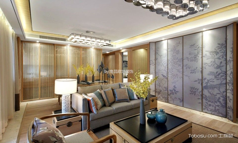 中式风格120平米3房2厅房子装饰效果图