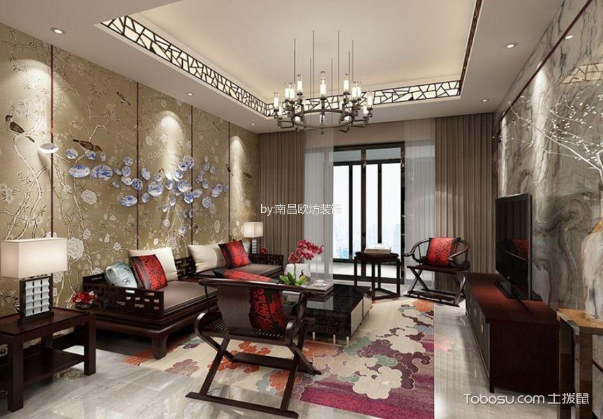新中式风格90平米三室两厅室内装修效果图