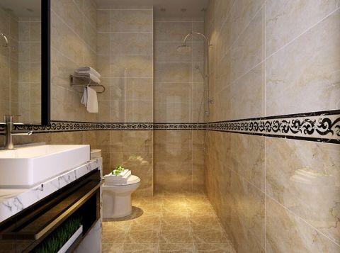卫生间米色背景墙现代简约风格装潢效果图