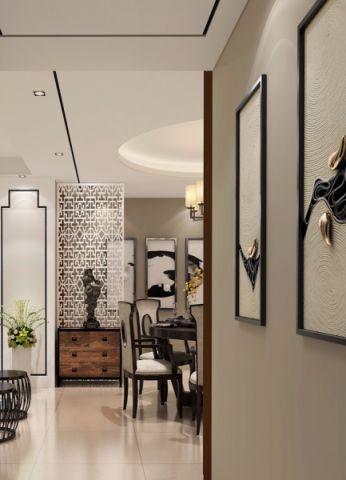 金湾家园140平三室两厅新中式风格设计案例