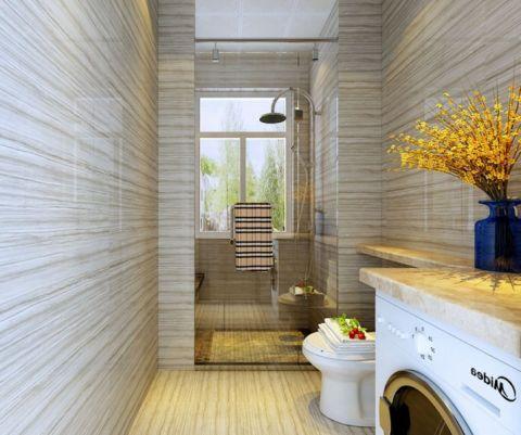 卫生间米色背景墙现代风格装潢图片