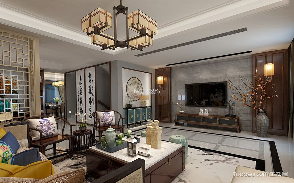 新中式风格400平米别墅室内装修效果图