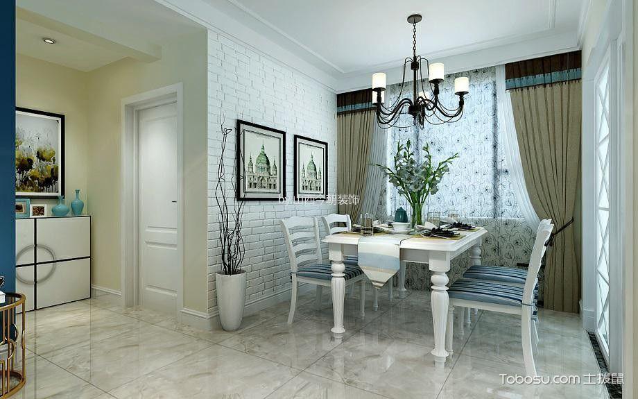 餐厅白色背景墙简欧风格效果图