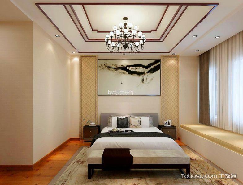 卧室白色吊顶新中式风格装饰图片