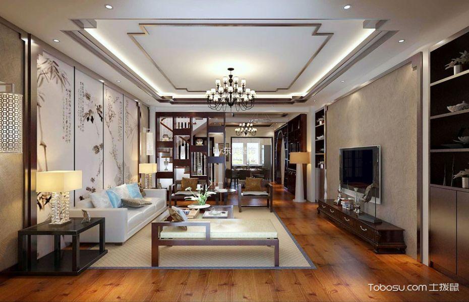 客厅白色吊顶新中式风格装潢图片