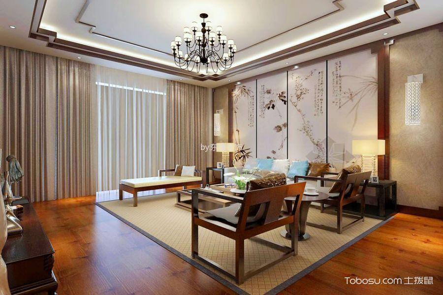 客厅白色背景墙新中式风格装修设计图片