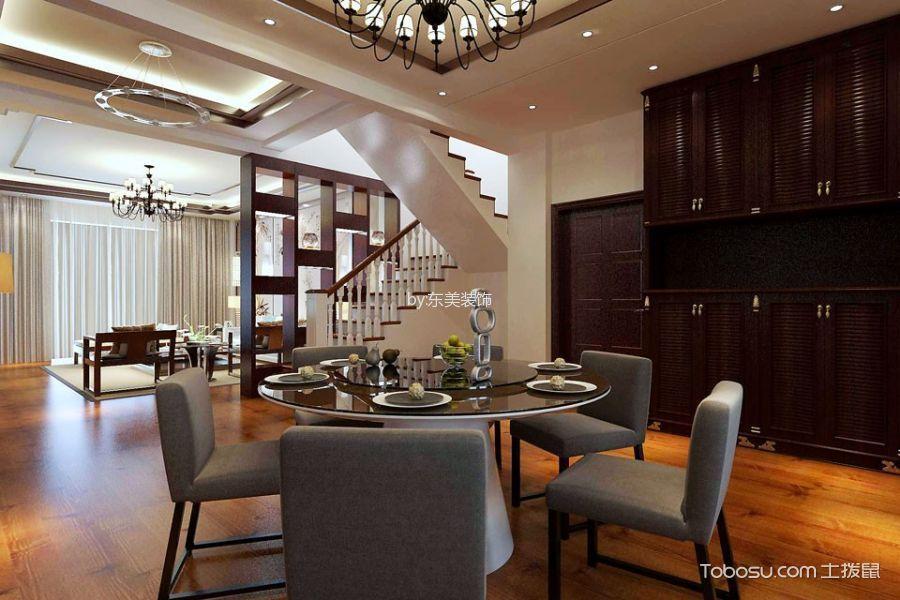 餐厅白色楼梯新中式风格装饰设计图片