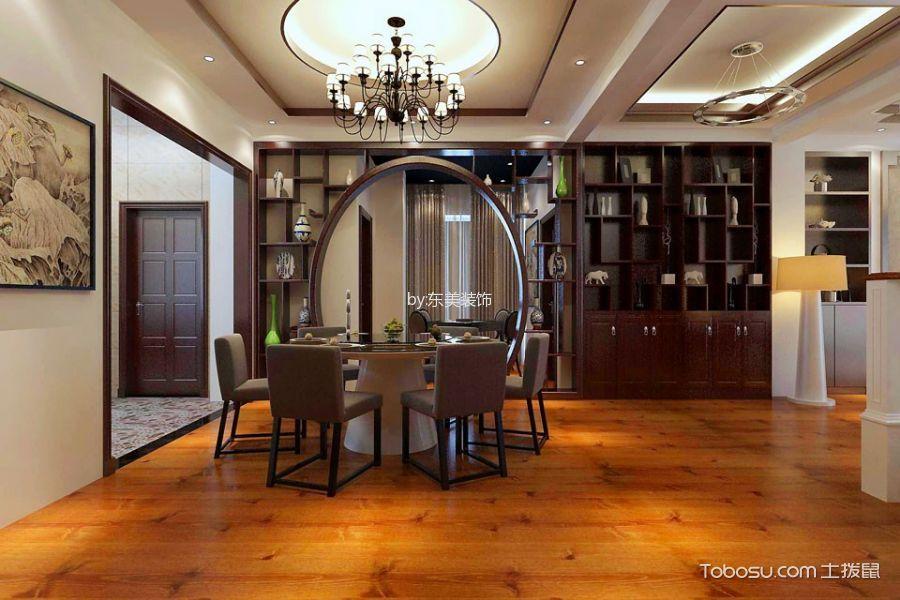 餐厅白色吊顶新中式风格装潢设计图片
