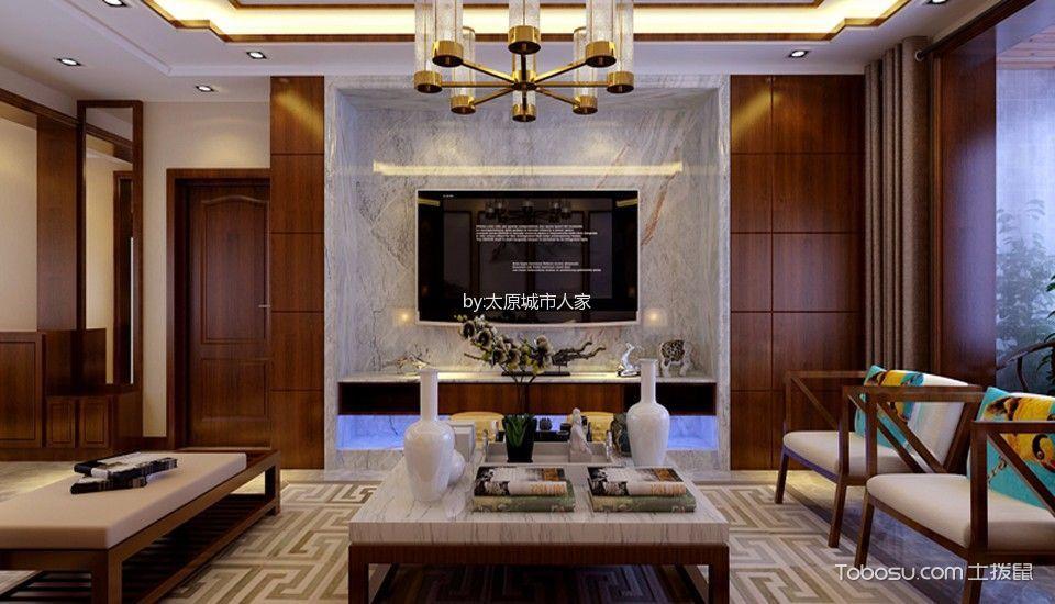 绿景未来城四居室新中式装修设计