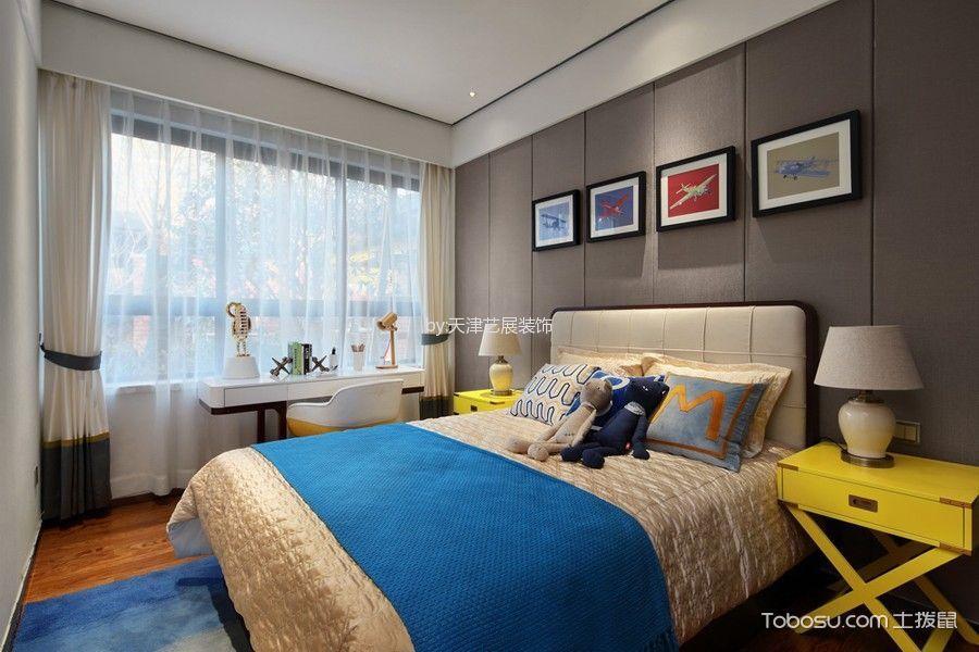 卧室灰色背景墙新中式风格装潢效果图