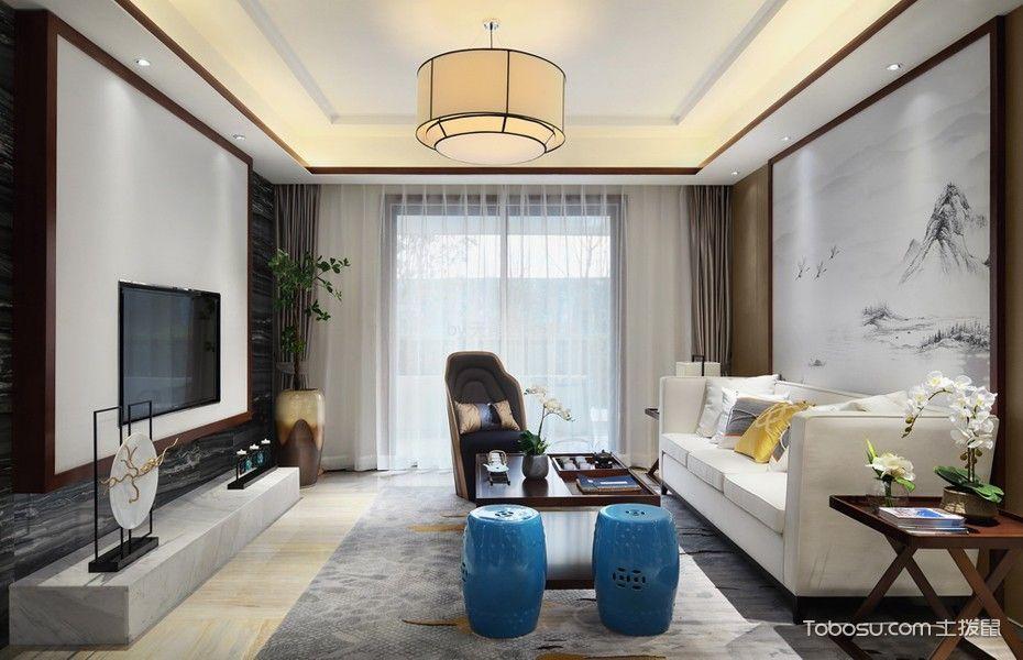 客厅灰色窗帘新中式风格装饰图片