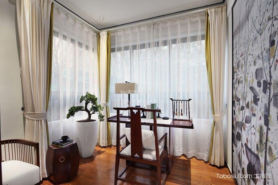 书房白色窗帘新中式风格装潢图片