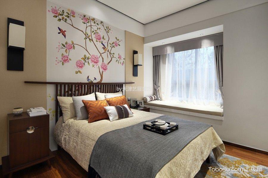 卧室白色背景墙新中式风格装修设计图片