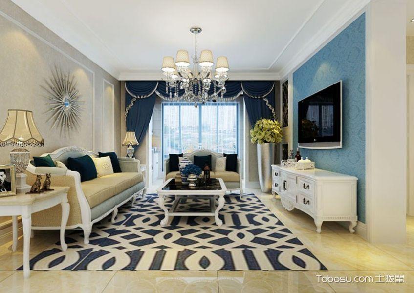 简欧风格101平米两室两厅室内装修效果图图片