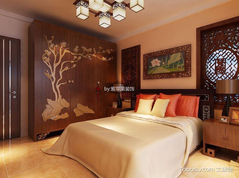 卧室咖啡色衣柜中式风格装潢效果图