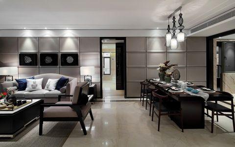 现代中式风格128平米大户型室内装修效果图