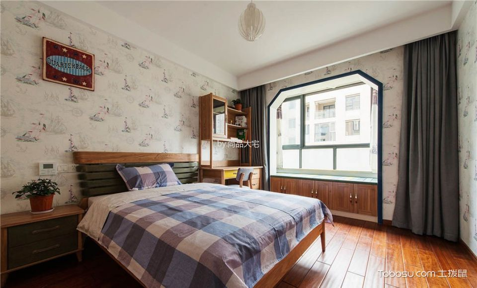 卧室灰色窗帘现代中式风格装饰设计图片