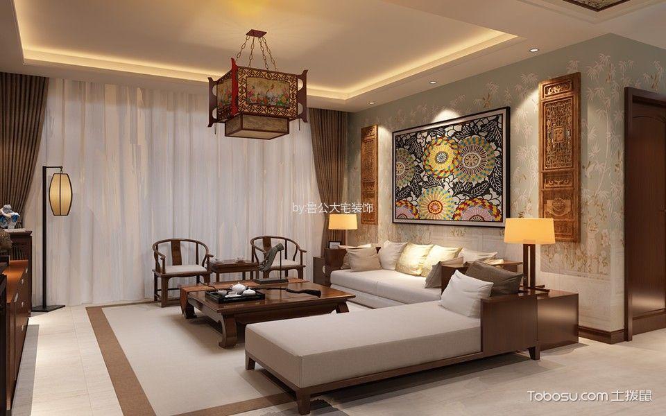 客厅 沙发_中式风格140平米三室两厅室内装修效果图
