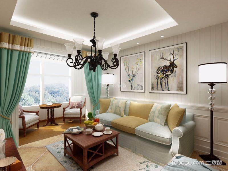 美式风格93平米三室两厅室内装修效果图
