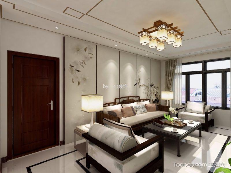 新中式风格124平米三室两厅室内装修效果图