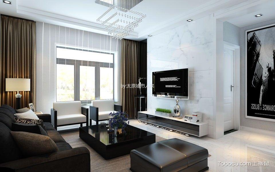 现代简约风格106平米三房两厅新房装修效果图