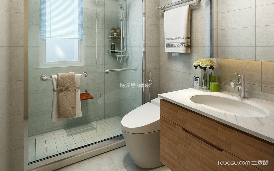 卫生间咖啡色洗漱台北欧风格装饰效果图