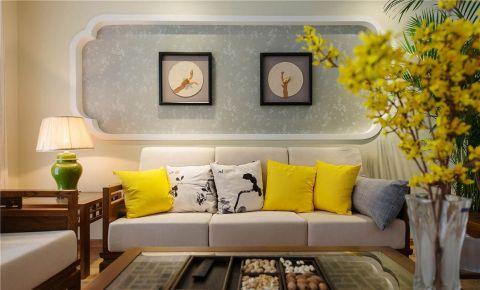 现代中式风格120平米三房两厅新房装修效果图