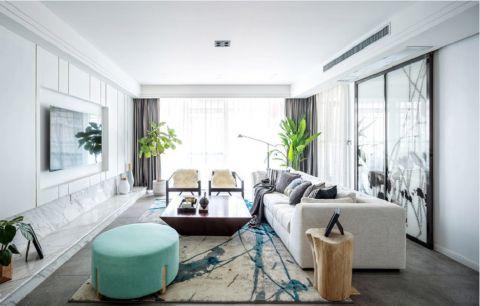 现代中式风格120平米三室两厅室内装修效果图