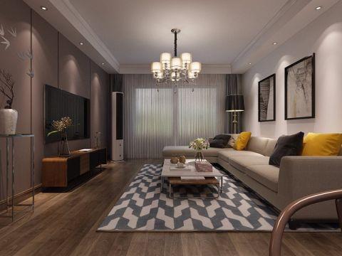 现代中式风格118平米三室两厅室内装修效果图