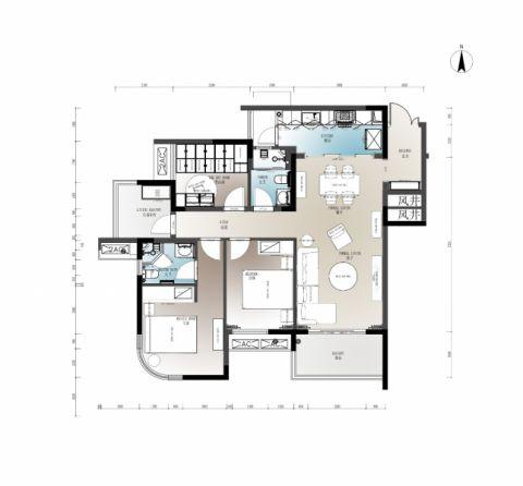 洋世达南滨特区100㎡三居室装修实景图