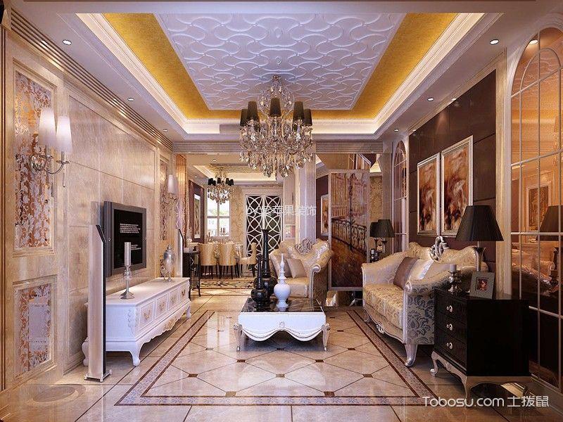 欧式风格134平米四房两厅新房装修效果图
