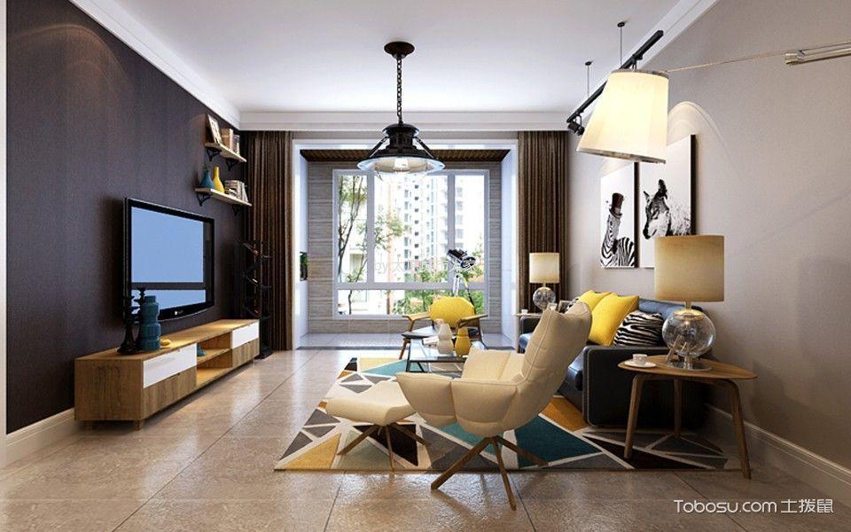 现代简约风格103平米3房2厅房子装饰效果图