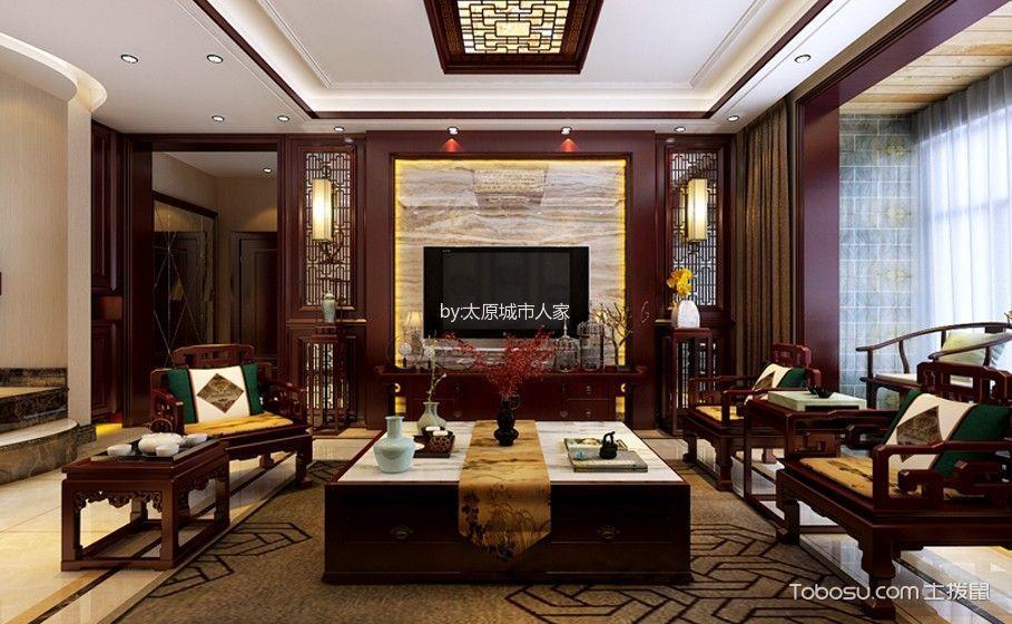中式风格180平米四室两厅室内装修效果图
