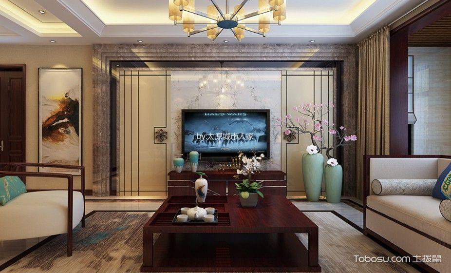 新中式风格170平米三室两厅室内装修效果图