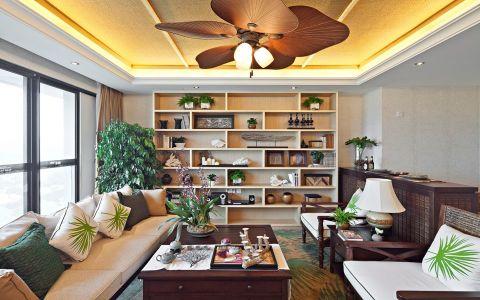 东南亚风格138平米三房两厅新房装修效果图