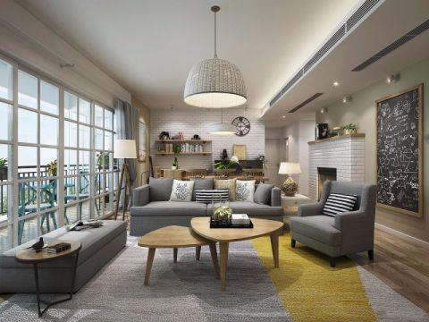 客厅白色推拉门北欧风格装修效果图