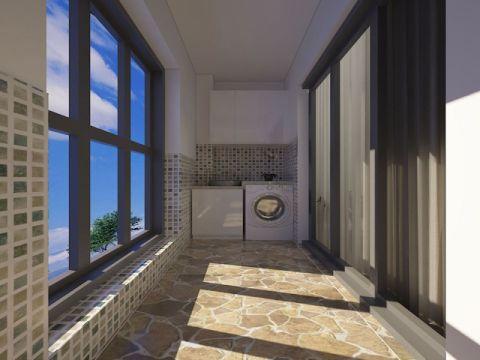 温暖黑色卧室阳台实景图