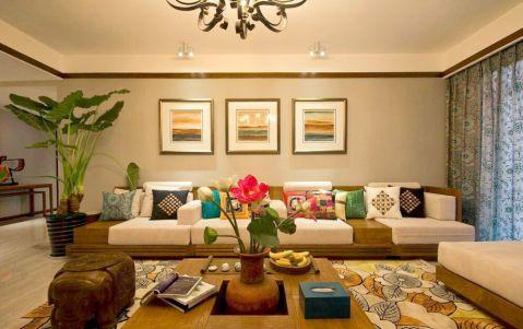 东南亚风格100平米三室两厅室内装修效果图