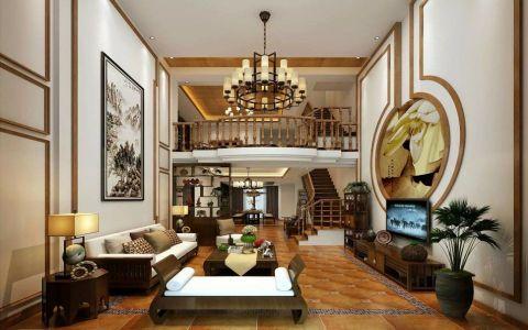 客厅白色背景墙东南亚风格装潢图片