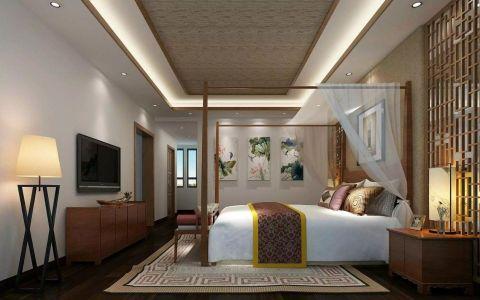 卧室白色背景墙东南亚风格装饰设计图片