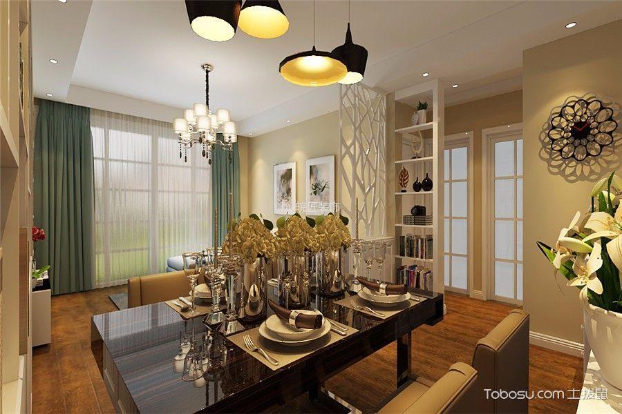 现代中式风格120平米三室两厅室内装修效果图图片