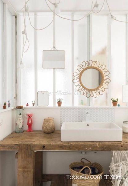 卫生间黄色洗漱台北欧风格装潢效果图