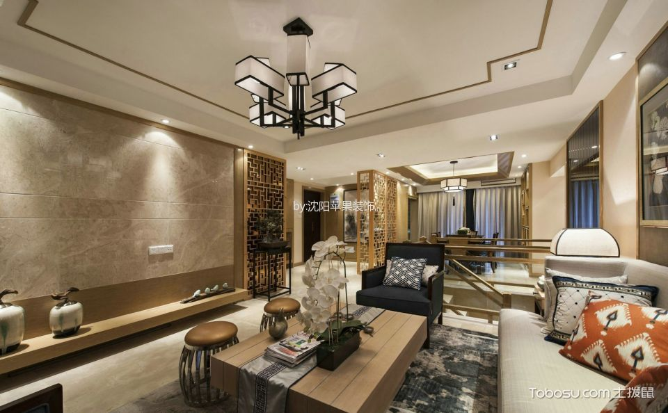 世茂五里河三室两厅新中式风格效果图