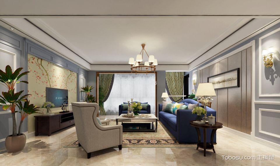 美式风格123平米三室两厅室内装修效果图