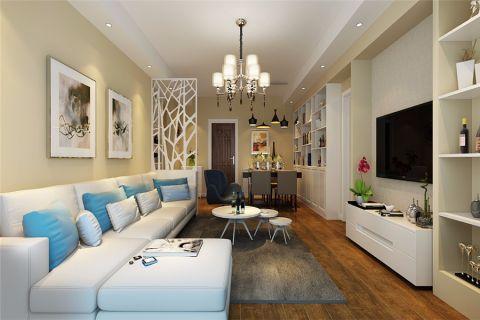 客厅米色背景墙现代风格装修图片