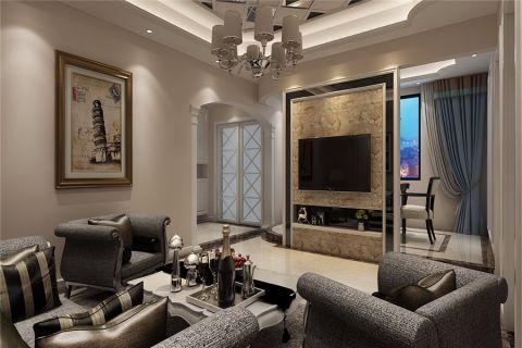 客厅黄色背景墙后现代风格装潢设计图片